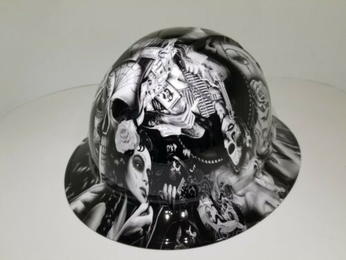 FULL BRIM Hard Hat custom hydro dipped in NO LOVE ALL HUSTLE HOT WHITE HOT NEW 4