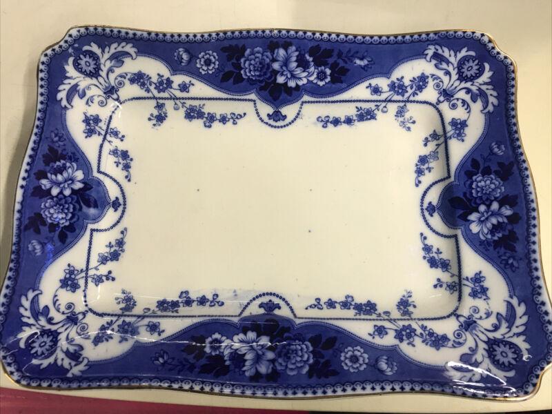 """Antique F & Sons Burslem England Flow Blue Argyle Platter 17""""x12.75"""" Gold Trim"""