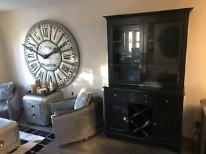 ****** POTTERY BARN BLACK 2 PIECE BAR DISPLAY CABINET *****