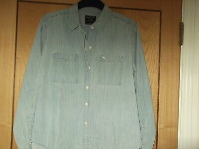 abercrombie and fitch ladies/ womens shirt size M 12 to 14  blue denim vgc