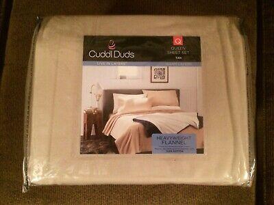 Cuddl Duds Heavyweight Flannel 100% Brushed Cotton Queen Sheet Set Tan ***NEW! Tan Flannel Sheet Set