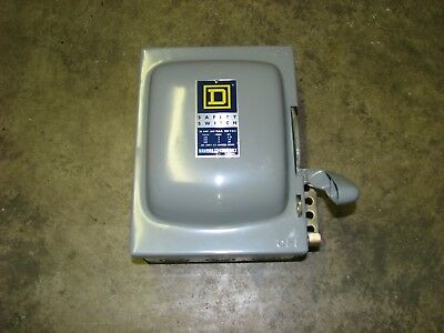 Square D Hu-361 Heavy Duty Safety Switch 30 Amp 250dc 600vac 3 Wire 3 Blade