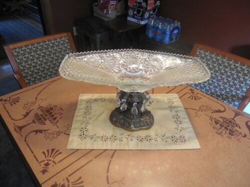 "VTG  LARGE CENTERPIECE Ornate Compote Pedestal Bowl 19"" Brass WITH Crystal Prism"
