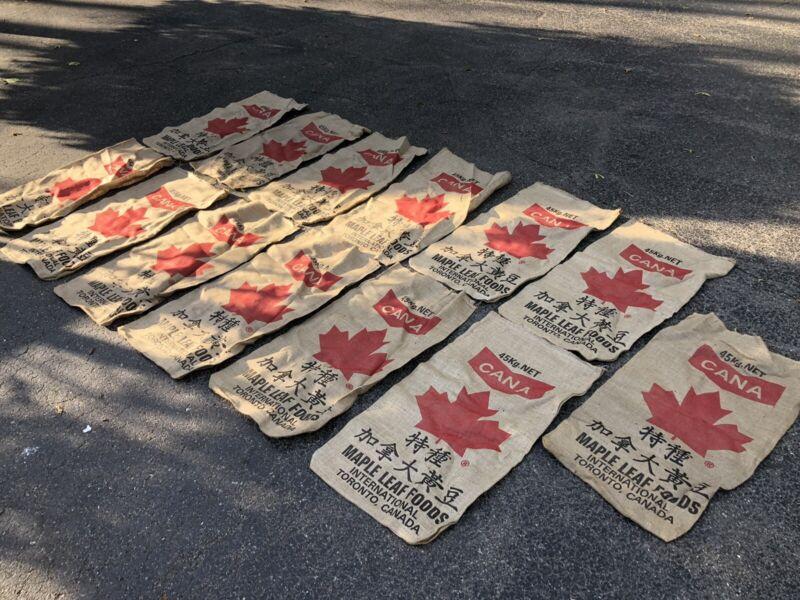 Vtg New Canada Bag Burlap Sack Farm Seed Feed Coffee Bean Maple Leaf Lot 13 Shop