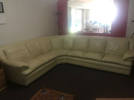 White leather 6 seater couch