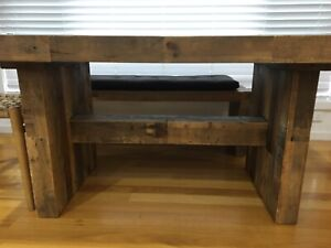 Dining table with 1 bench reclaimed pine by westelm