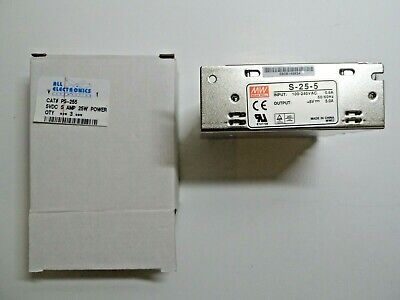 Mean Well S-25-5 5 Vdc 5a Power Supply New