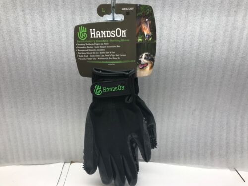 Hands On Wet/Dry Grooming Shedding Bathing Gloves for Pets Sized Large Black