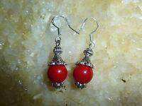Orecchini Di Corallo Rosso Perle 9mm & Argento Tibetano -  - ebay.it