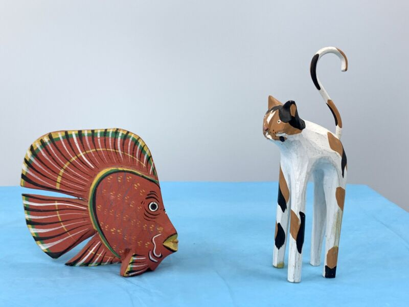 Vintage Wooden Fish And Cat