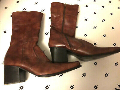 """NEW """"BRONX"""" BROWN LEATHER BOOTS, 40,BOOTS CUIR BRUN marque BRONX,heels 6.5 cm"""