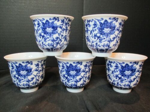 "CHINESE BLUE & WHITE 5 CUPS MARKED 2 1/2"" TALL"