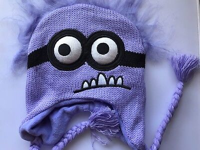 Girl Purple Minion Costume (Women Girl Boy Kids Knit Crochet Purple Minions Party Costume Warm Hat Cap)