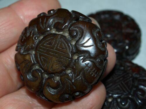 Vintage Carved Chinese Bead Brown Serpentine Jade Shou Bats Design 35mm x 16mm