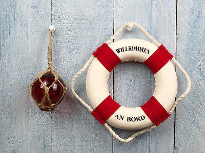 2er Set Deko Fischerkugel aus Glas Ø 5cm rot & Deko Rettungsring 15cm rot/weiß