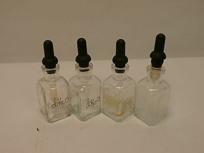 Lot Of 4 40ml Squared Glass Dropper Bottles