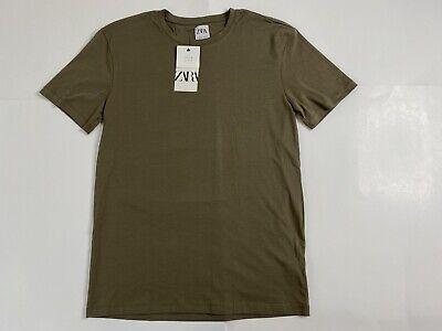 NEW ZARA MAN Green Brown BASIC SLIM FIT T-SHIRT Stretch Cotton Size L Rare NWT
