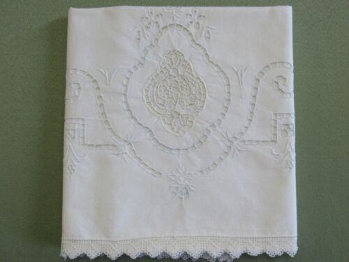 Antique Pillowcase Single Needle Lace & Elegant Cutwork Pale Blue and White