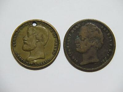 GREAT BRITAIN ALBERT PRINCE OF WALES 1872 LONDON 1843 THAMES TUNNEL TOKENS ⭐