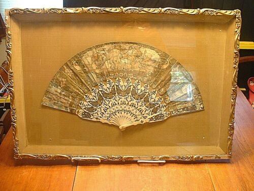 Superb Antique Framed Ladies Hand Fan With French Picnic Scene