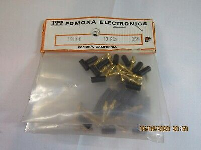 10-pack Itt Pomona 3690-0 Gold Plated Miniature Banana Plugs 0.89 Connectors