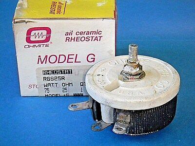 Ohmite Rgs25r Rheostat Potentiometer Wirewound 75w 25 Ohm 1.73a Model G Nos