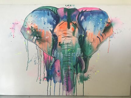 Large elephant canvas from Bali
