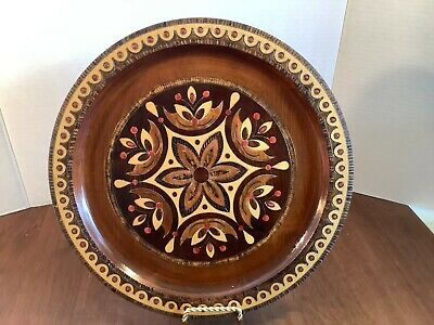 Vintage Handpainted Carved Wood Round Serving Tray Multicolor Floral