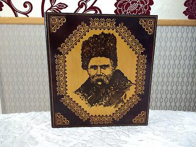 Vintage Wood Trinket Jewellery Box Book Shaped With Taras Shevchenko USSR Wooden