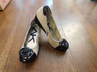 New Anne Klein Sport Angelice Sz 6 2 tone Bone Black Flower Toe Ballet Low Wedge