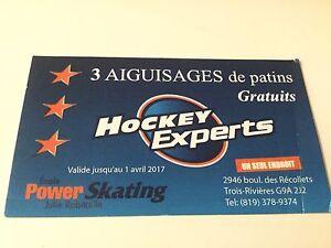Carte de 3 aiguisages de patins