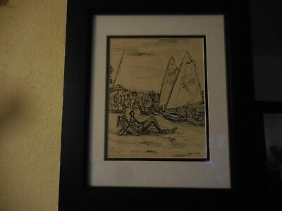 Abstract Pencil Drawing of Beach Relaxing Scene with Sail Boats at Bay #3770