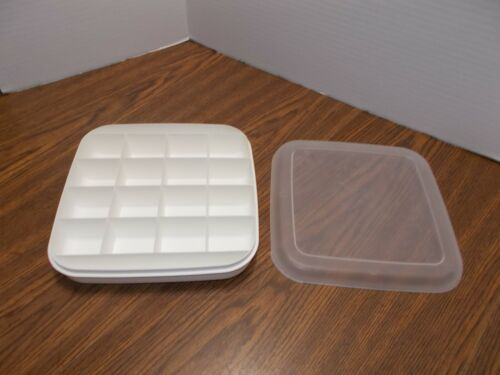 """Vintage Eagle Craftstor Divided Storage Tray 18 Compartment w/ Lid 9"""" square EUC"""