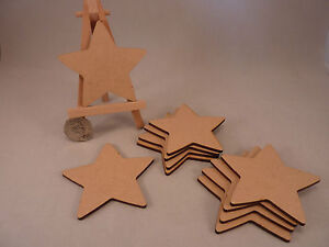 Wooden MDF Star shapes, craft blank, cutouts, Plaque and card making, 2 and 3mm