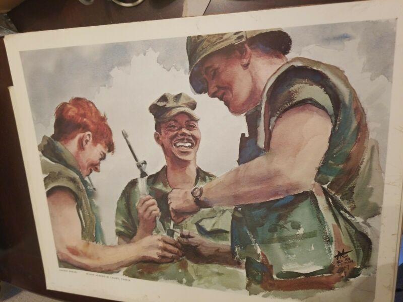 "Vietnam Era USMC Marine Corps Combat Art Collection ""Smoke Break""  20 × 16"