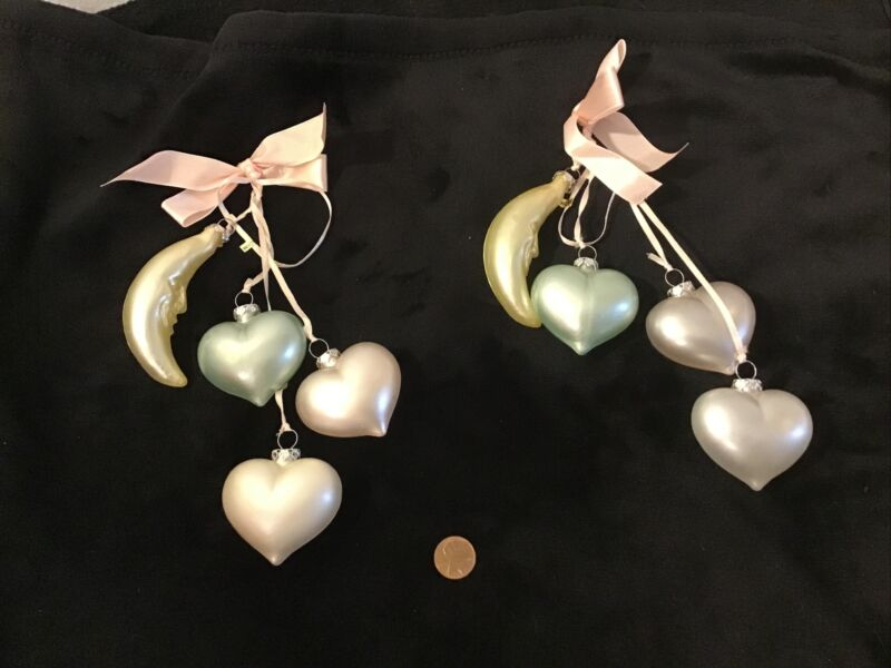 BABY BLOWN GLASS ORNAMENT HEARTS & MOON