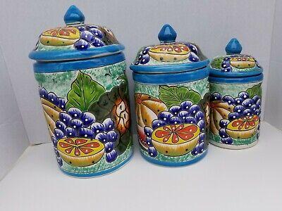 Talavera Canister 3-Piece Set Fruit Design**NEW ITEM***$19.99 Ship
