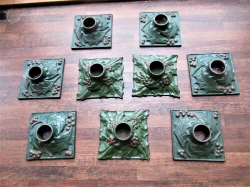 9 Assorted Antique Cast-Iron Christmas Holly Candle Holders Snead & Co. + Others
