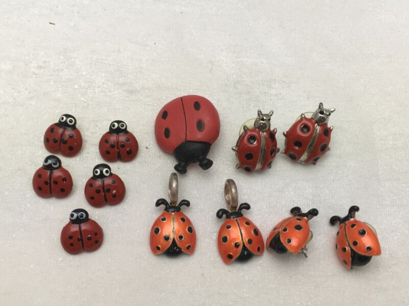 LADYBUG Jewelry Collection Lot of Pierced Earrings, Pendants, & Buttons JHB