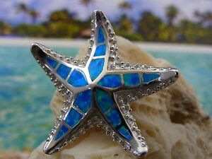 BEAUTIFUL STERLING SILVER BLUE FIRE OPAL STARFISH SLIDE PENDANT