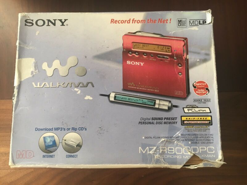 SONY MZ-R900 MD Minidisc Player Recorder MDLP Player Red With Original Box