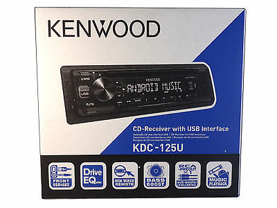 Kenwood KDC-125U In-Dash MP3 USB & Aux Input CD Receiver, NEW