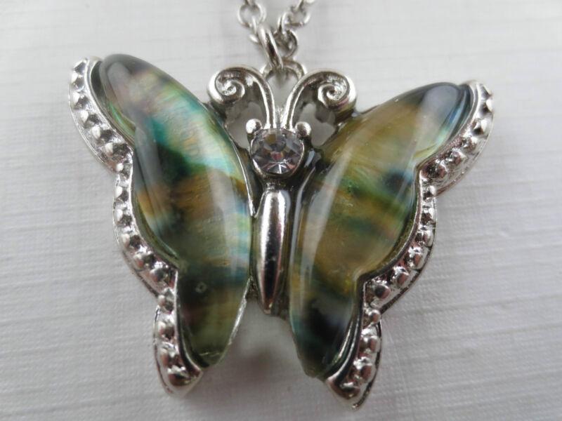 Vintage Style Silvertone Abalone Crystal Rhinestone Butterfly Pendant Necklace