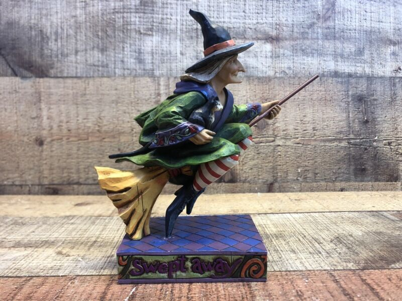 2006 Jim Shore Heartwood Creek Swept Away Witch on Broom with Black Cat