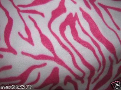 NEW POLAR fleece ANIMAL PRINT ZEBRA  hot PINK  WHITE  fabric by the yard 1 yd
