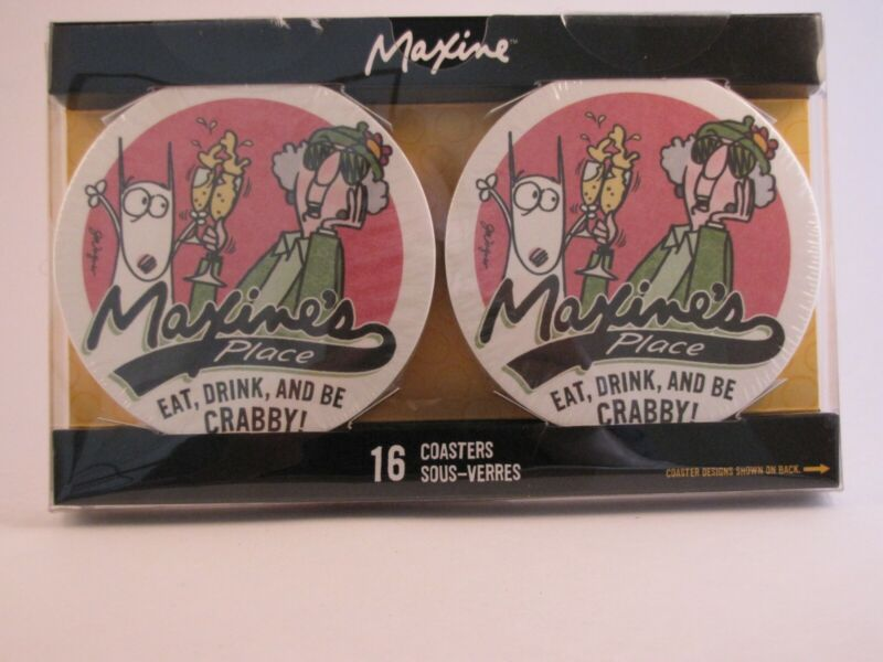 Hallmark Maxine Coasters Pkg of 16 Features 8 Maxine Cartoons NEW!