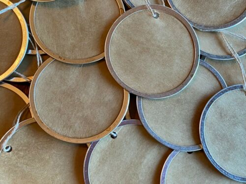 """25 XLARGE 2-1/4"""" Metal Rim Round Circle Coffee Stained Primitive Gift Hang Tags"""