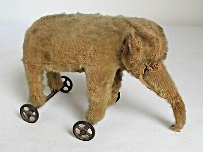 Antique Steiff? Mohair Elephant Pull Toy Iron Wheels