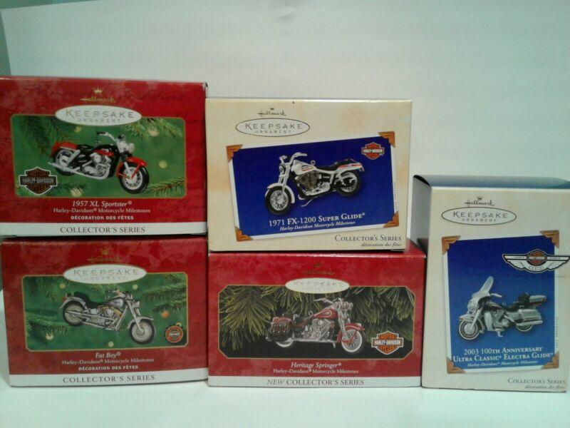 Lot of 5- Hallmark Keepsake Harley Davidson Motorcycle Ornaments