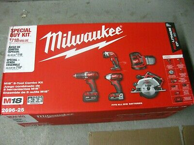 Brand New Milwaukee 2696-25 M18 5-piece Cordless Tool Combo Kit